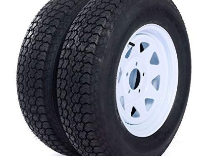 "MILLION PARTS Set of 2 15"" Trailer Tires Rims ST205/75D15 Tire Mounted 5x4.5 Bolt Circle White Spoke Trailer Wheel With Bias Black"