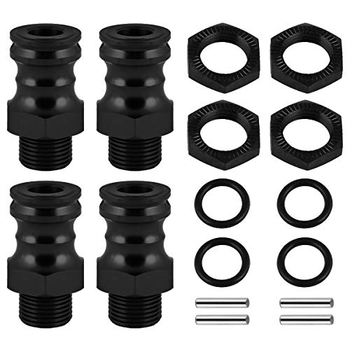 Aluminum 17mm Hex Adapters Extension 23mm for 1/8 Scale RC Hobby Car Truck Bubby Hop Ups Black
