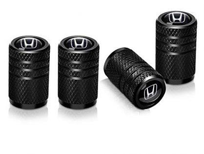Baoxijie 4 Pcs Metal Car Wheel Tire Valve Stem Caps for Honda Civic Accord CRV Pilot HR-V Styling Decoration Accessories Black
