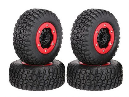 LAFEINA 110mm Tire and Wheel Rim Set for 1/10 Short Course Truck Traxxas Slash Redcat Blackout