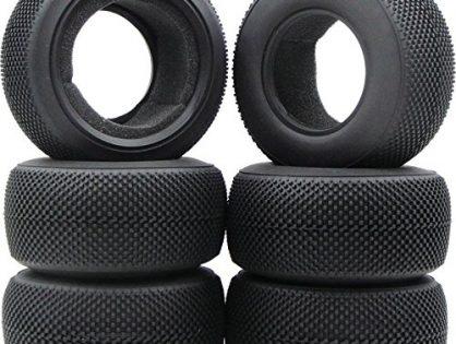 hobbysoul 6pcs 1/10 RC 2.2/3.0 Short Course Tires Soft Tyre Fit Pro-Line RPM JConcepts SC Wheels Rims