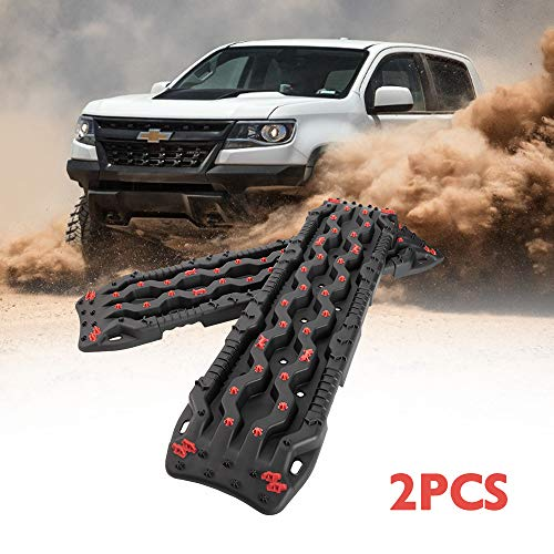 DEFEND INDUST Traction Tracks 2 pcs Black&RED Traction Boards for Off-Road Mud, Sand,Snow Vehicle Extraction Track Tire Ladder 4X4 Traction mat,mud Tires