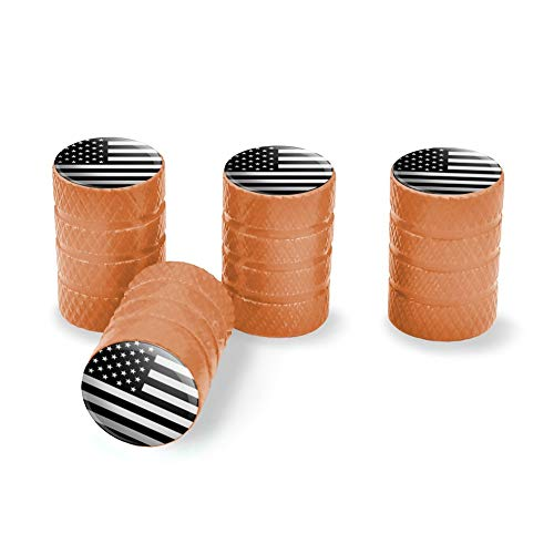 Orange - Graphics and More Subdued American USA Flag Black White Military Tactical Tire Rim Wheel Aluminum Valve Stem Caps
