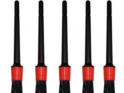 bzczh Car Detailing Brush Set of 5 - Boar Hair Mixed Fiber Plastic Handle Automotive Detail Brushes Kit for Cleaning Car Interior Exterior, Dashboard Vehicles Wheels Leather Engine