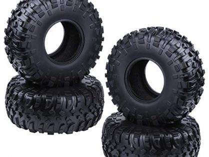 """Hobbypark 130mm 2.2"""" Tires with Foam Inserts for 1/10 RC Crawler Truck Replacement Tyres for SCX10 AX10 Wraith RC4WD D90 4-Pack"""