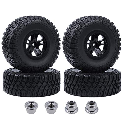 Hobbypark 4-Pack 120mm / 4.7 Inch Outer Diameter Tires & Wheels Foam Inserts 12mm Hex for Traxxas Slash 4x4 2WD 1/10 Short Course Truck