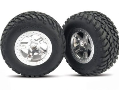 Traxxas 5873 SCT Off-Road Racing Tires Pre-Glued on SCT Satin Chrome, Beadlock-Style Wheels, TSM Rated pair