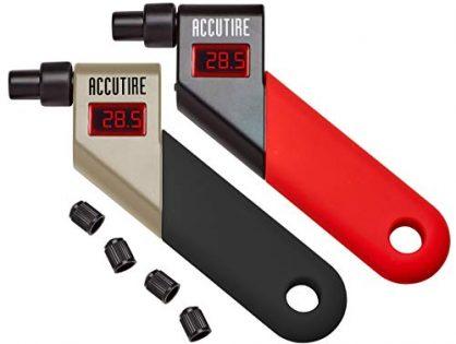 Accutire Digital Tire Pressure Gauges Red/Black + Silver/Black with 4 Valve Caps