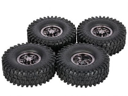 Goolsky 4Pcs AUSTAR AX-5020G 1.9 Inch 120mm Tires with Metal Electroplated Hub for 1/10 Traxxas Redcat SCX10 AXIAL RC4WD TF2 Rock Crawler