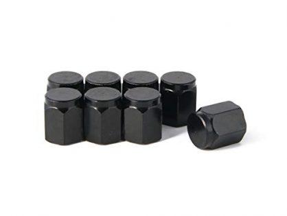 Rubber Seal, Leak-Proof Air Protection, Heavy Duty - 8 Pieces - RockTrix - Black Aluminum Valve Stem Caps Covers - Universal Application