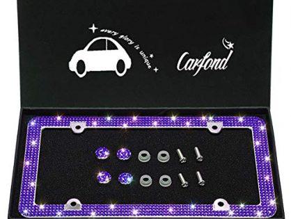 TASIRO 8 Row Pure Handmade Bling Bling Rhinestones Stainless Steel Car License Plate Frame with 4 Holes Bonus Matching Screws Caps Dark Purple