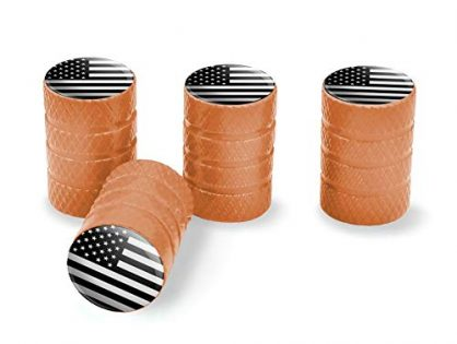 Orange - Graphics and More Subdued American USA Flag Black White Military Tactical Tire Rim Wheel Aluminum Valve Stem Caps